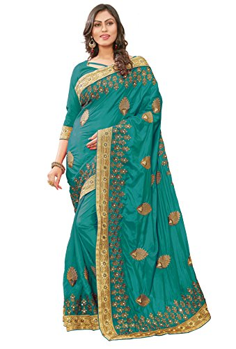 Panash Trends Women's Heavy Embroidery Work Satin Silk Saree (UJJ.K697,R,G,O,P, Color)