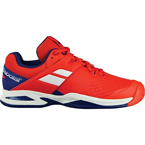 Babolat Enfants Propulse All Court Junior Chaussures De Tennis Chaussure Tout Terrain Rouge - Bleu Foncé 34