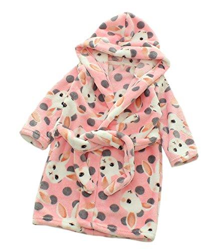 XINNE Unisex Kleinkinder Kinder Kapuzen Bademantel Jungen Mädchen Morgenmantel Cartoon Tier Pyjamas Flanell-Nachtwäsche Größe 90 Rosa Kaninchen