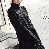 Versión coreana del suéter de las mujeres sueltas suéter largo de la rodilla suéter de punto invierno ropa de cuello alto de las mujeres, negro, código L