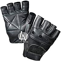 Lna Namaa Fingerless Leather Cycle Biker Gym Gloves Cycling Body building weight lifting Black