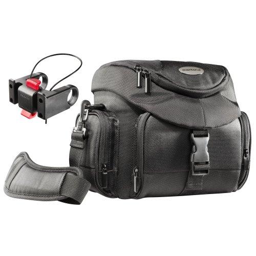 Mantona Premium Biker SLR-Kameratasche (inkl. Klickfix Lenkeradapter, Schnellzugriff, Schultergurt, Regenüberzug und Zubehörfächern) schwarz (Biker-klammern)