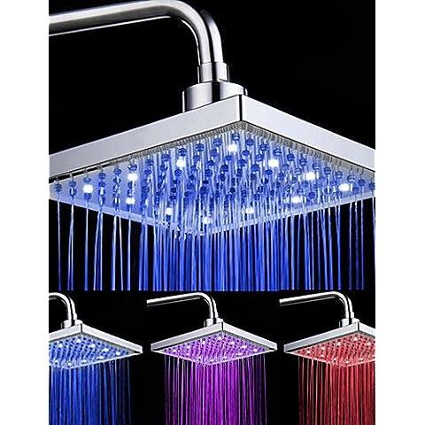 HuaJing® Acabado en cromo rectangulares 3 colores LED cabezal de ducha