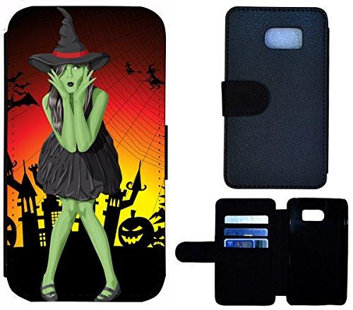 �lle Handy Tasche Etui Case für (Samsung Galaxy S7 G930F, 1611 grüne Hexe mit Hut Halloween) (Halloween-hexe-hüte)