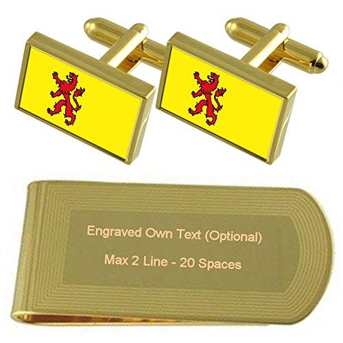 Zuid-Holland Flagge Gold-Manschettenknöpfe Geldscheinklammer Gravur Geschenkset -