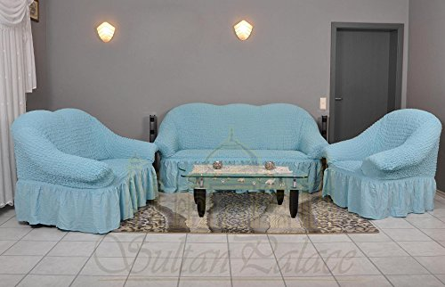Stretch 2 Sitzer Bezug, 2 Sitzer Husse aus Baumwolle & Polyester. Sehr elastische Sofaueberwurf in hellblau / blau. Sofabezug Hussen Sofahusse Stretch Husse / Stretch Hussen / Sofahusse 2-Sitzer / Sofabezug 2 Sitzer (Blaue Hussen Für Couch)