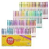 Shuttle Art 160Couleurs Paillettes de stylos à encre gel, 220% d'encre Stylo à encre gel pour adulte coloriage livres Art marqueurs 80stylos gel de couleur Plus 80Recharges