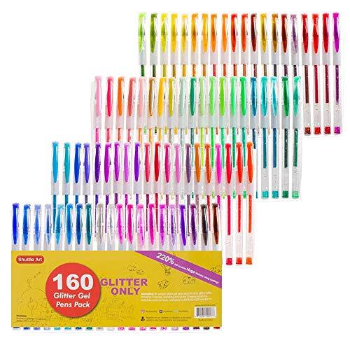 Shuttle Art 160Farben Glitter Gel Stifte Set, 220% Tinte Gel Pen für Erwachsene Färben Bücher Art Marker 80farbig Gel Stifte Plus 80Minen