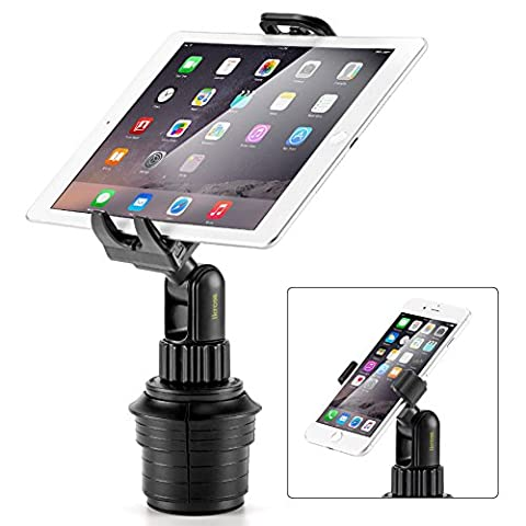 iKross 2-in-1 Car Mount, Smartphone and Tablet Car Cup Mount Holder Cradle Kit for Apple, Samsung, Sony, Asus, Motorola, LG, Huawei, Oppo Mobile Phones and More - Black