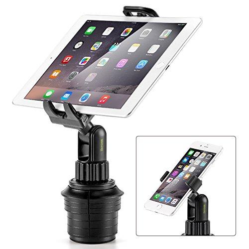 2-in-1 Kfz Tablet & Smartphone Halterung, iKross 2-in-1 Kfz Einstellbare Halterung für Getränkehalter Becherhalter mit Kurzen Arm
