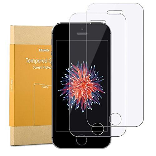 iPhone SE Schutzfolie [2 Stück], EasyAcc 9H Hardness Panzerglas HD Klar Anti-shatter Anti-kratz 0.33mm Dicke - Kompatibel mit iPhone SE/5S/5/5C 4.0 Zoll (Hinweis 4 Fall Mit Screen Protector)