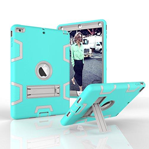 iPad Air Fall, iPad 5Fall, dooge Drei Schichten PC & Silikon Armor Defender Heavy Duty Dämpfung Robuste Hybrid Full Body Schutzhülle mit Kickstand für Apple iPad Air/iPad 5(Modell 2013), Aqua+Grey -