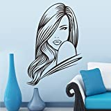 PeiTrade Long Hair Girl Bedroom Carved Background Wall Sticker Art Decal Home Room Decor Office Wall Mural Wallpaper Art Sticker Decal Paper Mural for Home Bedroom