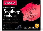 Sirona Natural Biodegradable Super Soft Black Sanitary Pads/Napkins - 10 Pieces, Small (S) Day Pads - Antibact