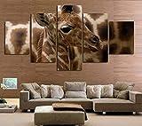 ZWXDMY 5 Leinwand Bilder,Twisted Giraffe Tier Modular Kunstwerke Malerei Abstrakt Stillleben Poster Wandbilder Auf Leinwand Home Teehaus Coffee Shop Rahmenlosen Bildern Dekorationen, XL