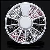 Bluelover 4 Größen Acryl Nail Art Dekoration Tip Wheel Schwarz Weiß Pink Glitter Strasssteine