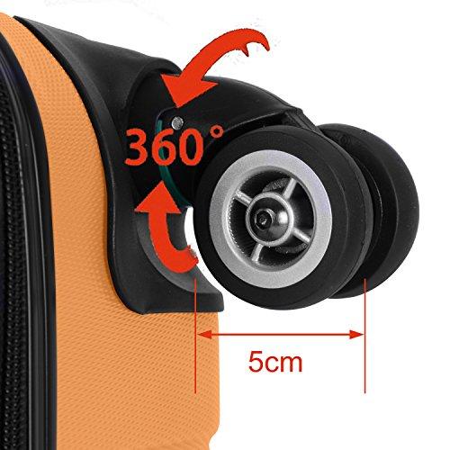 Shaik Serie XANO HKG Design Hartschalen Trolley, Koffer, Reisekoffer, in 3 Größen M/L/XL/Set 50/80/120 Liter, 4 Doppelrollen, TSA Schloss (Großer Koffer XL, Gelb) - 3