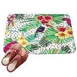 LvRaoo ußmatte für Außen und Innen Schmutzfangmatte Flamingo Blume Blätter drucken Türmatte für Badezimmer Küche Schlafzimmer (# 6, 60*40cm)
