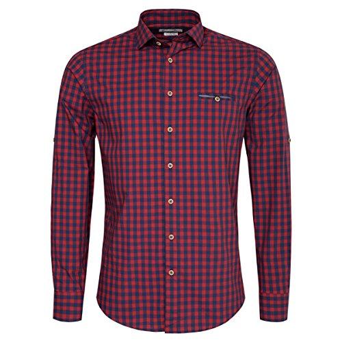Gweih & Silk Trachtenhemd Body Fit Woife Zweifarbig in Rot und Dunkelblau, Größe:L, Farbe:Rot