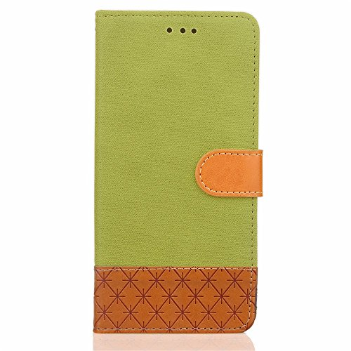 Mixed Colours Retro Premium PU Ledertasche 360 ​​° Schutz Wallet Stand Cover Case mit Lanyard & Card Slots für iPhone 7 Plus ( Color : Rose ) Green