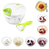 Uten® Kitchen Mini Chopper Food Pull Processor with Peeler- for Vegetable, Fruit, Garlic, Herb, Onion, Pull Slicer Cutter Blender Tool (3 Blades)