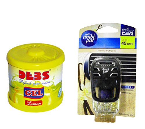 Debonair Combo - Debs 100gm Premium Car/Home/Office Air Freshener Gel - Lemon& Ambi Pur Starter Kit 7. 5 ml - Vanilla Bouquet  available at amazon for Rs.418