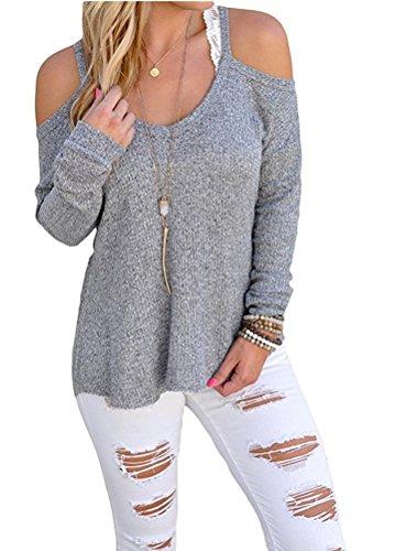 LAEMILIA Pull Femme Epaule Nue Chandails à Manches Longues Casual Col Rond Pullover en Maille Sweater Jumper Tops Tricots Gris