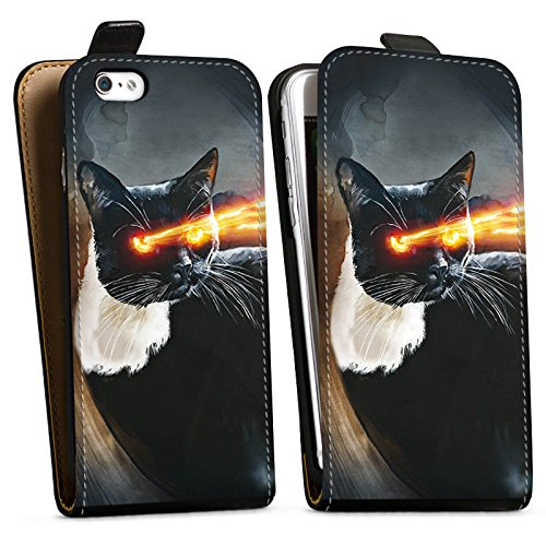 Apple iPhone X Silikon Hülle Case Schutzhülle Katze Laser Auge Downflip Tasche schwarz