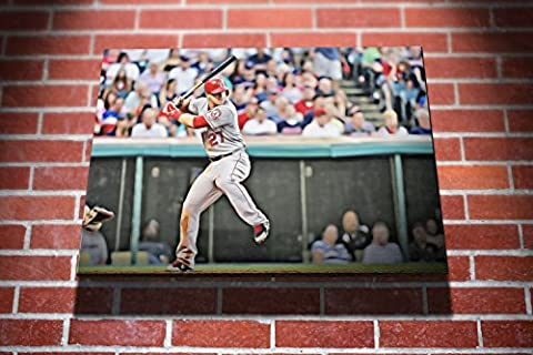 Mike Trout Los Angeles Angels of Anaheim MLB Baseball Player Gallery Framed Canvas Art Picture Print