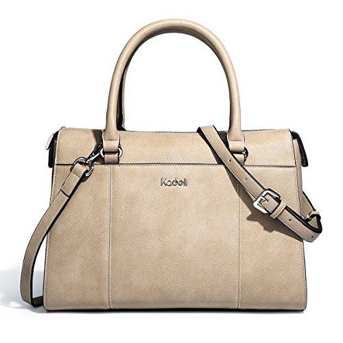 78b7d097793f1 Kadell PU Leder Frauen Handtaschen für Damen Luxus Top Griff Schulter  Geldbörse Nickel schwarz Hellbraun ...