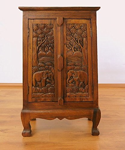 Asia Wohnstudio Sideboard Solid Wood with Carved Elephant Designs Asian Colonial Style Handcrafted 82 x 50 x 28cm Brauntöne