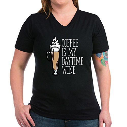 CafePress Coffee Is My Daytime W - Womens Cotton V-Neck T-Shirt