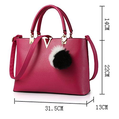 BYD - PU Leder Damen Handtaschen Umhängetaschen Totes Hangbag mit Mutil Taschen Rosepink