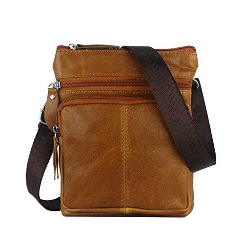 Genda 2Archer vera pelle Organizzatore Messenger Bag Affari spalla Bauletto Marrone