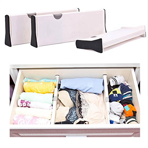 3 Pack Adjustable Expandable Drawer Dividers Tidy Organizer with Position Lock Drawer Grips Organizer for Kitchen,Bathroom, Office Desks and Bedroom (Large (adjust from 37.5cm to 53.5cm))
