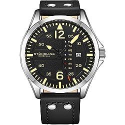 Stuhrling Original Montre aviateur analogique Sport pour Homme, Réglage Rapide, Date du Jour, Bracelet en Cuir décontracté (Black)