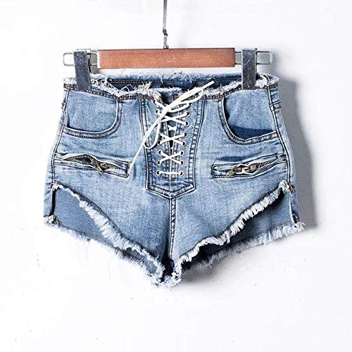 Washed Denim-mini (Sexy Schnürung Fransen Burr Black Washed Denim Shorts Frauen Schnürung Casual Mini Jeans Shorts 2019 Sommer Hot Shorts)
