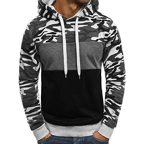 Imagen de yanhoo suéter de los hombres camuflaje de los hombres con capucha suéter de manga larga top camuflaje para hombre talla grande pullover sudadera con capucha de manga larga tops blusa