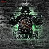 JIANGRC Orologio da Muro in Vinile Motorcycles Bikers Classic King LED Cambia Colore a Parete Orologio da Parete in Vinile Telecomando 12 Pollici