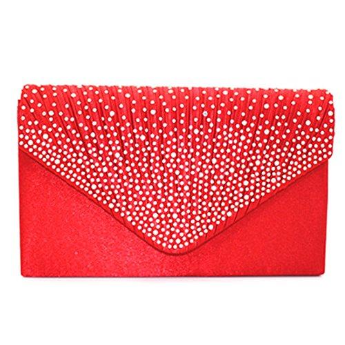 Satin Strass Damen Clutch Abendtasche Handtasche Umhaengetasche Party Hochzeit (rot) (Rote Satin-abend-tasche)