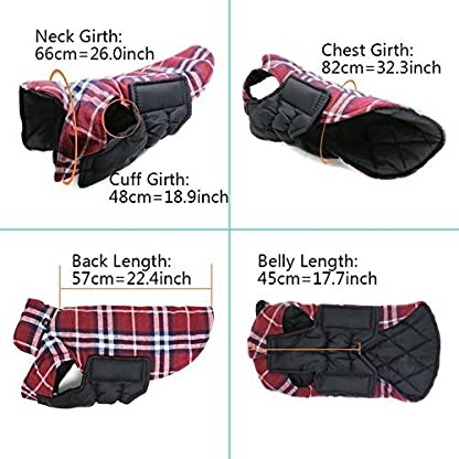 Akemiao Reversible Cozy Dog Jacket Small Medium Breed Windproof Warm Coat for Autumn Winter (Red-XS) 5