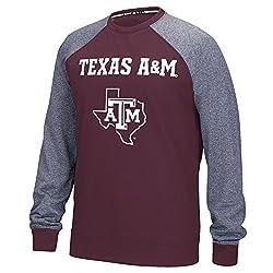 NCAA Texas A&M Aggies Mens Campus Raglan Long Sleeve Fleece Crew Top, Large, Maroon