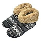COFACE Damen Hübsche Strickte Hausschuhe Warme Innengefüllte Hohe Hüttenschuh Aus Baumwolle Rutschfeste Pantoffel Für Winter/Herbst