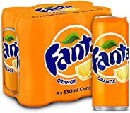 Fanta Orange Carbonated Soft Drink, Cans - 330ml (Pack of 6)