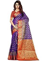 Greenvilla Designs Purple And Red Banarasi Silk Wedding Saree