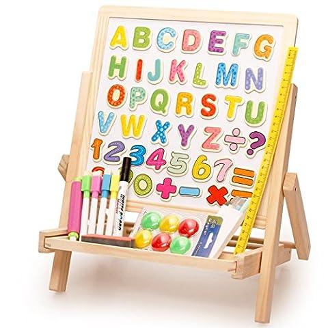 Lewo Dessin Chevalet Double Face Numéro d'alphabet Aimant Planche en Bois Jouets pour Enfants
