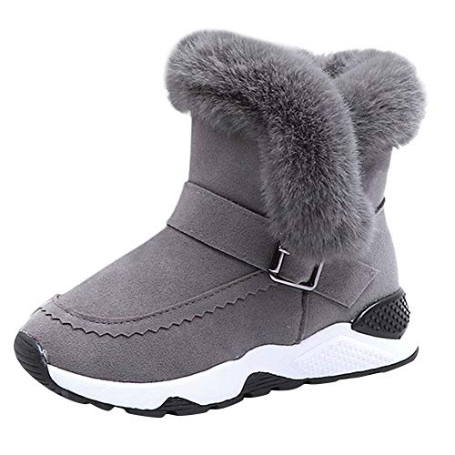 Lauflernschuhe Stiefel Kinder Winter Plüsch rutschfest Outdoor Sport warme Schneeschuhe Sneaker Weiche Sohle Schuhe für Baby Kind Jungen Mädchen Yuiopmo (36-36)
