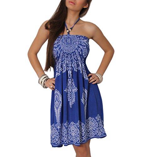 Sommer Bandeau Kleid Holz-Perlen Etno Strandkleid Tuchkleid Tuch Aztec Ranke, 29 Blau, Einheitsgröße Bandeau-kleid