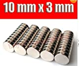 "Big Bargain - 50 disques aimants - Neo neodymium de terres rares - N42 - 10 mm x 3 mm - Modèles""Craft"""