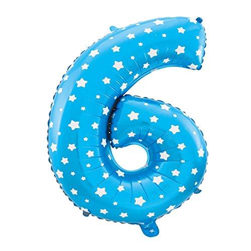 MC-Globo Gigante Número 6 DE Foil Color Azul con Estrella para Fiestas de Cumpleaños 65cm